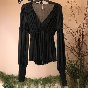 Free People black v-neck long sleeve blouse